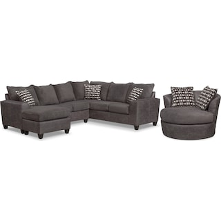 Brando 3-Piece Sectional with Left-Facing Chaise and Swivel Chair Set - Smoke