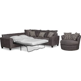 Brando 3-Piece Foam Sleeper Sectional and Swivel Chair Set - Smoke