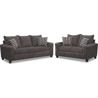 Brando Queen Foam Sleeper Sofa and Loveseat Set - Smoke
