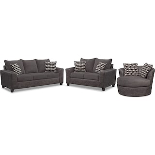 Brando Queen Foam Sleeper Sofa, Loveseat and Swivel Chair Set - Smoke