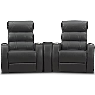 Bravo 3-Piece Power Reclining Home Theater Sectional with 2 Reclining Seats - Black