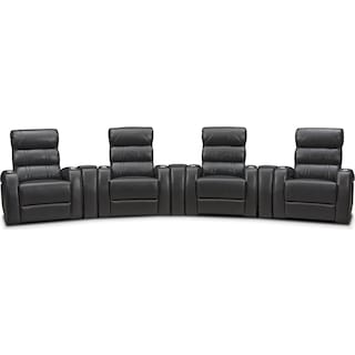 Bravo 7-Piece Power Reclining Home Theater Sectional with 4 Reclining Seats - Black