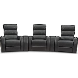 Bravo 5-Piece Power Reclining Home Theater Sectional with 3 Reclining Seats - Black