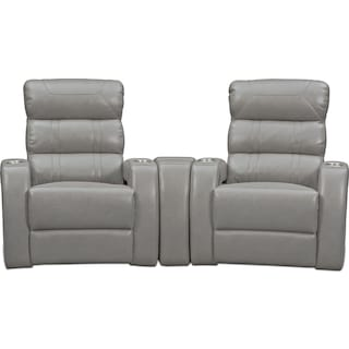 Bravo 3-Piece Power Reclining Home Theater Sectional with 2 Reclining Seats - Gray