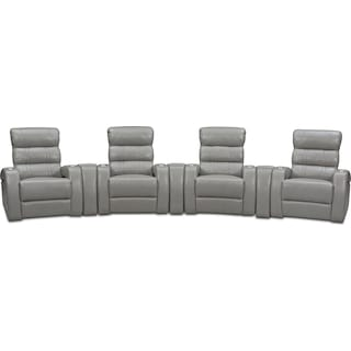 Bravo 7-Piece Power Reclining Home Theater Sectional with 4 Reclining Seats - Gray