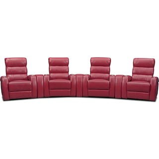 Bravo 7-Piece Power Reclining Home Theater Sectional with 4 Reclining Seats - Red