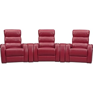 Bravo 5-Piece Power Reclining Home Theater Sectional with 3 Reclining Seats  - Red