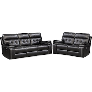Brisco Manual Reclining Sofa and Loveseat Set - Black
