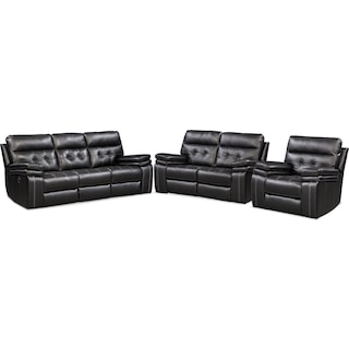 Brisco Manual Reclining Sofa, Loveseat, and Recliner - Black