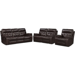 Brisco Manual Reclining Sofa, Loveseat, and Recliner - Brown