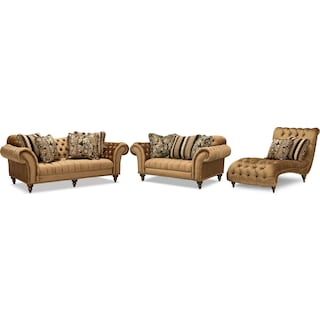 Brittney Sofa, Loveseat and Chaise - Bronze