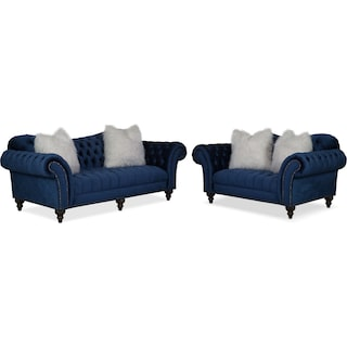 Brittney Sofa and Loveseat Set - Navy