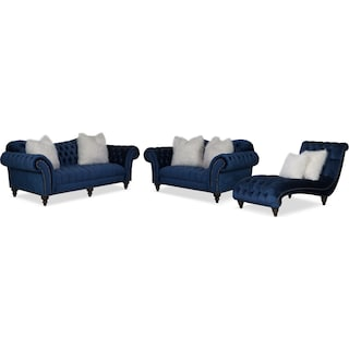 Brittney Sofa, Loveseat and Chaise - Navy