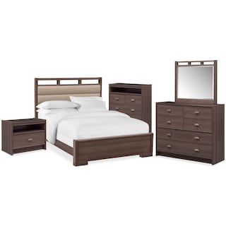 Britto 7-Piece King Upholstered Bedroom Set with Nightstand, Chest, Dresser and Mirror