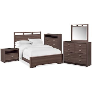Britto 7-Piece Queen Bedroom Set with Nightstand, Chest, Dresser and Mirror