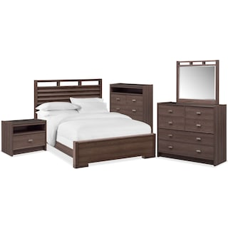 Britto 7-Piece Queen Slat Bedroom Set with Nightstand, Chest, Dresser and Mirror
