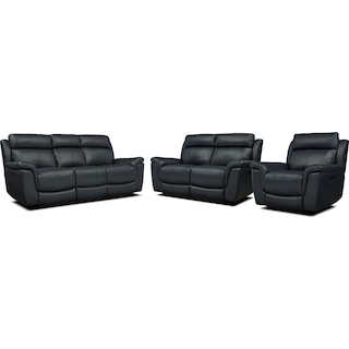 Brooklyn Dual-Power Reclining Sofa, Loveseat, and Recliner - Navy