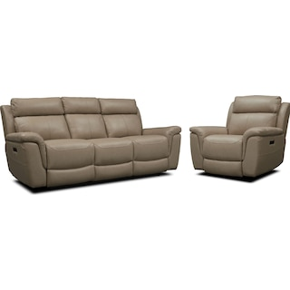 Brooklyn Dual-Power Reclining Sofa and Recliner Set - Ivory