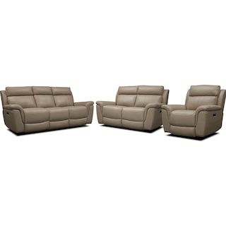 Brooklyn Dual-Power Reclining Sofa, Loveseat, and Recliner - Ivory