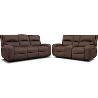 Burke Manual Reclining Sofa and Loveseat with Console - Brown