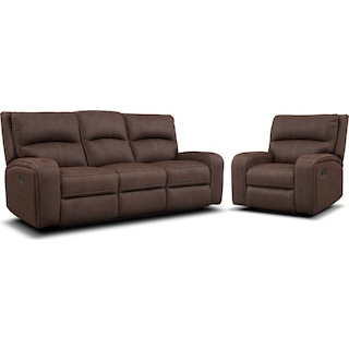 Burke Manual Reclining Sofa and Recliner Set - Brown