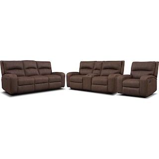 Burke Manual Reclining Sofa, Loveseat with Console and Recliner - Brown