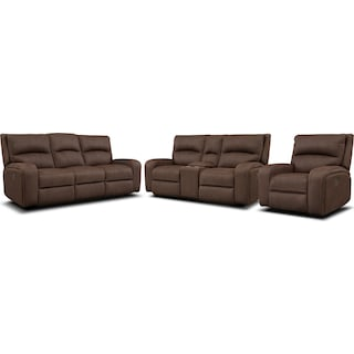 Burke Dual-Power Reclining Sofa, Loveseat with Console and Recliner - Brown