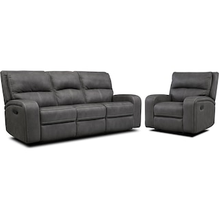 Burke Manual Reclining Sofa and Recliner Set - Charcoal