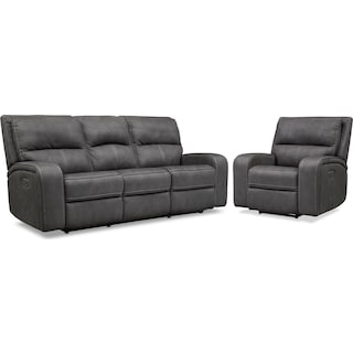 Burke Dual-Power Reclining Sofa and Recliner Set - Charcoal