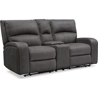 Burke Dual-Power Reclining Loveseat with Console - Charcoal