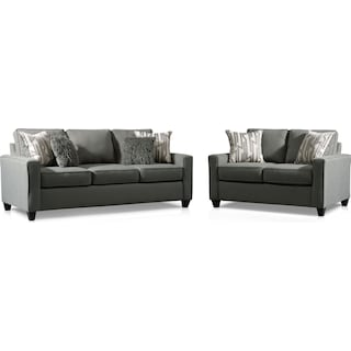 Burton Queen Memory Foam Sleeper Sofa and Loveseat Set - Smoke