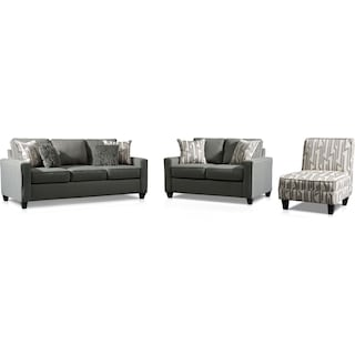 Burton Sofa, Loveseat and Accent Chair - Smoke