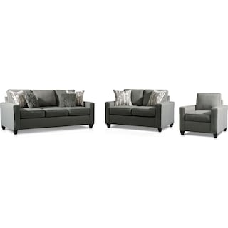Burton Sofa, Loveseat and Chair - Smoke