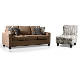 Burton Sofa and Accent Chair Set - Taupe