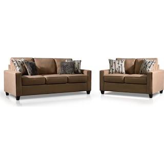 Burton Queen Memory Foam Sleeper Sofa and Loveseat Set - Taupe