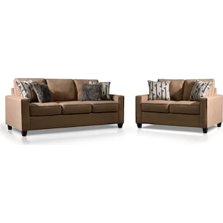 Burton Queen Foam Sleeper Sofa and Loveseat Set - Taupe