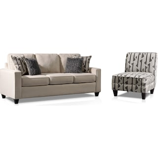 Burton Sofa and Accent Chair Set - Ivory