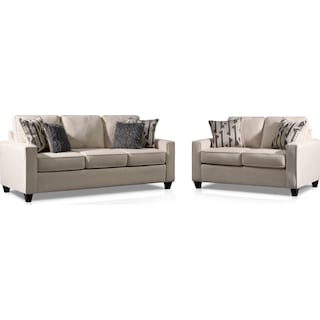 Burton Queen Foam Sleeper Sofa and Loveseat Set - Ivory