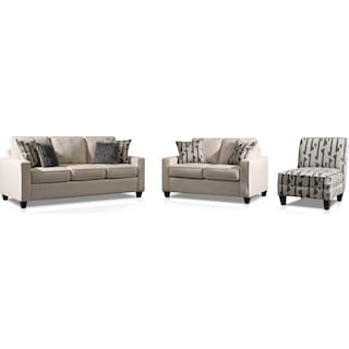 Burton Sofa, Loveseat and Accent Chair - Ivory