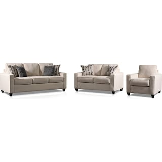 Burton Sofa, Loveseat and Chair - Ivory