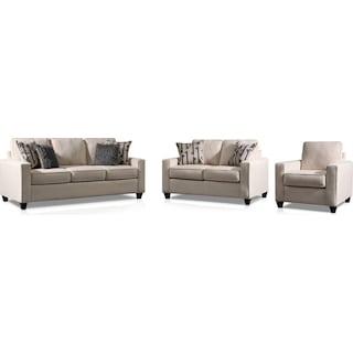 Burton Sofa, Loveseat and Chair - Ivory