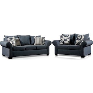 Calloway Sofa and Loveseat Set - Blue