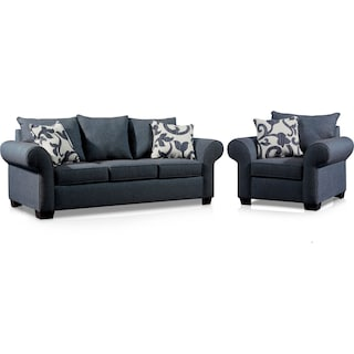 Calloway Sofa and Chair Set - Blue
