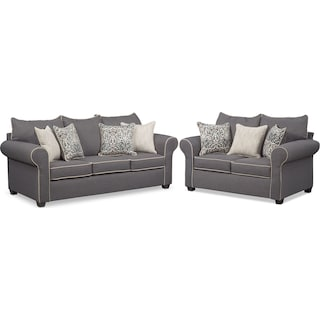 Carla Queen Foam Sleeper Sofa and Loveseat Set - Gray