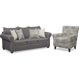 Carla Queen Memory Foam Sleeper Sofa and Accent Chair Set - Gray
