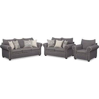 Carla Queen Foam Sleeper Sofa, Loveseat, and Chair Set - Gray