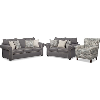 Carla Queen Foam Sleeper Sofa, Loveseat, and Accent Chair Set - Gray
