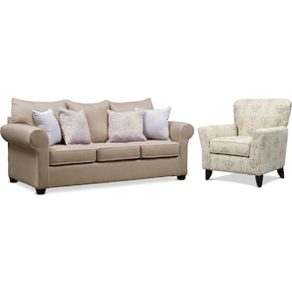 Carla Queen Memory Foam Sleeper Sofa and Accent Chair Set - Beige