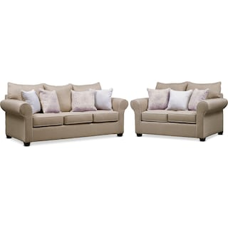 Carla Queen Foam Sleeper Sofa and Loveseat Set - Beige