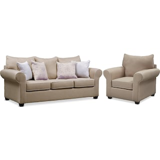 Carla Queen Foam Sleeper Sofa and Chair Set - Beige